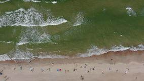 Aerial view of seashore with sandy beach stock footage