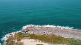 Aerial View Seashore with Waves stock video footage