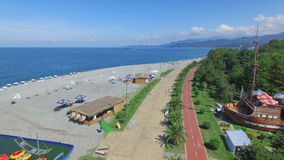 Aerial view of seaside of Batumi stock footage