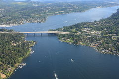 Aerial View of Seattle Bridge Royalty Free Stock Image