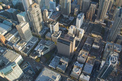 Aerial View - Seattle Downtown. Overhead shot of the north end of downtown Seattle during rush hour Stock Photos