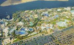Aerial view of Seaworld, San Diego. Aerial view of SeaWorld, a marine life theme park in San Diego Bay in Southern California, United States of America. A view stock images