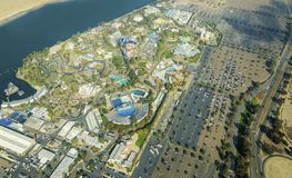 Aerial view of Seaworld, San Diego. Aerial view of SeaWorld, a marine life theme park in San Diego Bay in Southern California, United States of America. A view royalty free stock photography