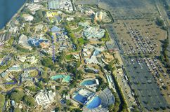 Aerial view of Seaworld, San Diego. Aerial view of SeaWorld, a marine life theme park in San Diego Bay in Southern California, United States of America. A view royalty free stock image