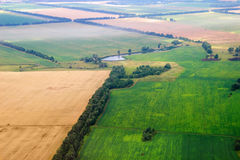 Aerial view of seeded fields. Agricultural landscape Royalty Free Stock Photos
