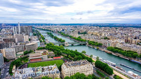 Aerial view of the Seine in Paris, France Royalty Free Stock Photography