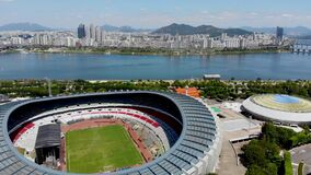 Aerial view Seoul Olympic Park, South Korea. The stadiums are built for the 1988 Summer Olympics