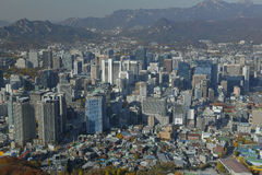 Aerial view of Seoul South Korea Skyline Asia - view from Seoul Tower hilltop - NOVEMBER 2013 Royalty Free Stock Image