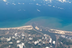Aerial view of Sergipe and Bahia border in Brazil. Over the Real river and the Pontal to Mangue Seco cross. You see also Jacare river, Porto do Mato, Atalaia Stock Image