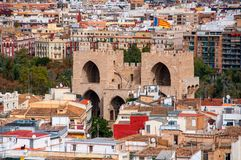 Aerial view of Serranos towers in Valencia, Spain Stock Images