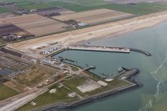 Aerial view service harbor at Dutch island Texel. In Wadden sea stock image