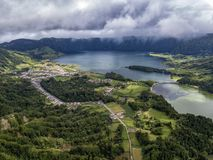 Aerial view of Sete Cidades. Village and Lagoa Azul and Verde on Sao Miguel in the Azores stock image