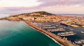 Aerial View Of Sete, France. Aerial view of the city of sete, france, with mont saint-clair and port. photo taken at sunrise royalty free stock images
