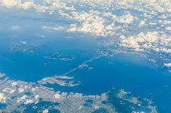 Aerial view of seto ohashi bridge in japan Royalty Free Stock Photo
