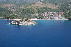 Aerial view of the settlement Sveti Stefan, Montenegro Stock Photos