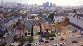 Aerial view of the seven sisters houses in San Francisco.