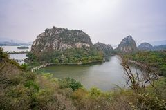 Aerial view of the Seven star bridge, mountains around Seven-star Crags Scenic Area. At Zhaoqing, China royalty free stock photos