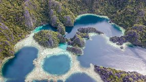 Aerial view on a several turquoise lagoons
