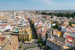 Aerial view of Sevilla from La Giralda, Sevilla royalty free stock photo
