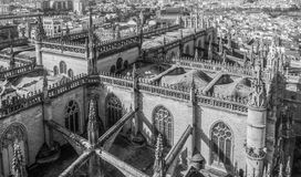 Aerial view of Seville Cathedral stock photo