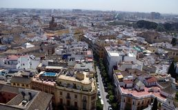 Aerial view of Seville city in Andalusia, Spain, Europe Royalty Free Stock Photos