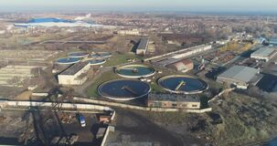 Aerial view of sewage treatment. Industrial water treatment. Flight over water treatment facilities