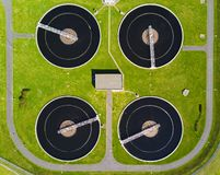 Aerial view of sewage treatment plant Stock Photography