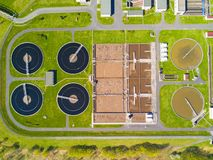Aerial view of sewage treatment plant Stock Photo