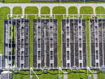 Aerial view of sewage treatment plant in Poland. Stock Image