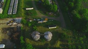 Aerial view of sewage treatment plant - waste water purification. 4K. stock footage