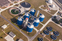 Aerial view of sewage treatment plant Royalty Free Stock Photography