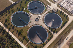 Aerial view of sewage treatment plant Stock Image