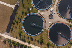 Aerial view of sewage treatment plant Royalty Free Stock Image