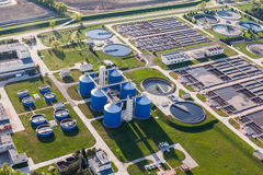 Aerial view of sewage treatment plant Stock Images