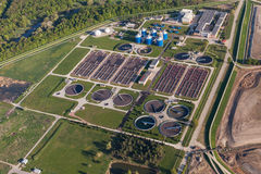 Aerial view of sewage treatment plant Royalty Free Stock Photos