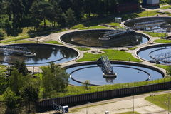 Aerial view of sewage water treatment plant Stock Photos