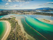 Aerial view of shallow ocean water. Narooma, NSW, Australia. Aerial view of shallow ocean water. Narooma, NSW, Australia Royalty Free Stock Image