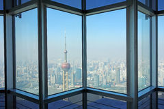 Aerial view of Shanghai. Oriental Pearl Tower and modern buildings  in  Shanghai, China Stock Photo