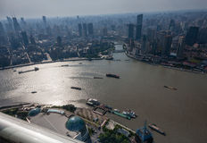Aerial view of Shanghai Bund district and the Huangpu river Stock Images