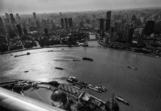 Aerial view of Shanghai Bund district and the Huangpu river Stock Photography