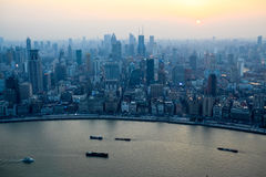 aerial view of shanghai bund at sunset from the oriental pearl tv tower royalty free stock image