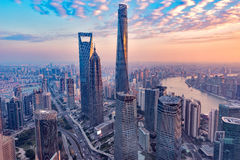 Aerial view of Shanghai city center at sunset time. China Stock Images