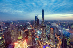 Aerial view of Shanghai city center at sunset time. Stock Image