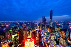 Aerial view of Shanghai city center at sunset time. Royalty Free Stock Photos