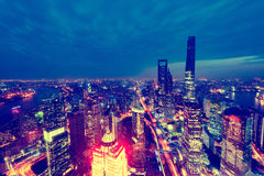 Aerial view of Shanghai city center at sunset time. Stock Photos