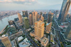 Aerial View of Shanghai Cityscape Royalty Free Stock Photos