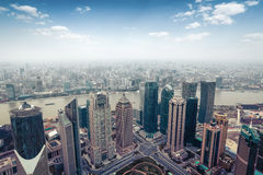 Aerial view of shanghai in daytime Stock Photos