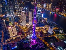Aerial view of Shanghai Downtown, China. Financial district and business centers in smart city in Asia. Top view of skyscraper and stock photography