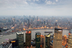 Aerial view of shanghai at dusk Royalty Free Stock Images