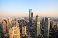 Aerial view of shanghai at dusk Royalty Free Stock Photos